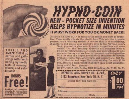Old ads: hypno-coins